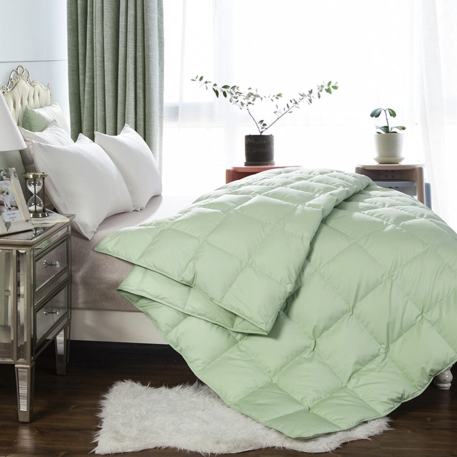 sanxiang lightweight white goose down and feather comforter blanket for summer ebay. Black Bedroom Furniture Sets. Home Design Ideas