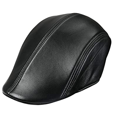 75883f4bfef46 INFLATION Men s Flat Cap Cabby Hat Genuine Lambskin Leather Vintage Newsboy  Cap Ivy Driving Cap Black