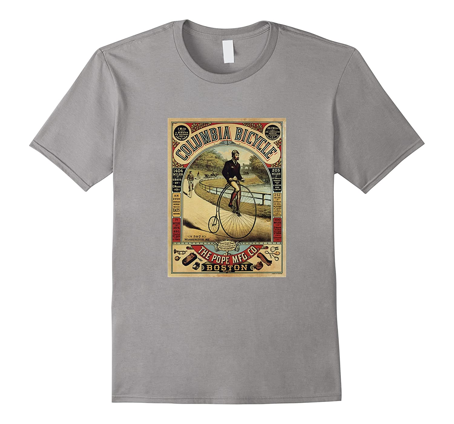 a9fcdb3e6fa Columbia Bicycle Advertising Vintage Poster T-shirt Pope MFG-BN ...