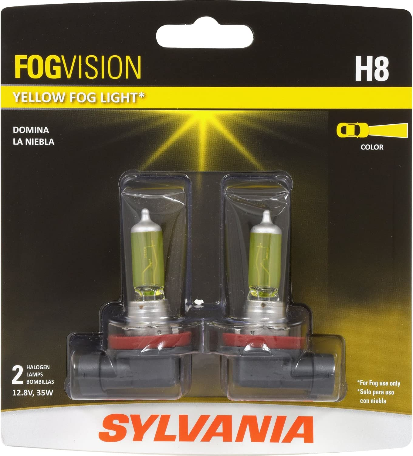 SYLVANIA H11 Fog Vision High Performance Yellow Halogen Fog Lights For Fog Use Only Contains 2 Bulbs Street Legal Sleek Style /& Improved Safety
