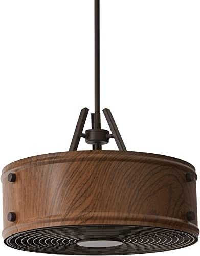Rivet Mid Century Modern Ceiling Pendant Chandelier With Light Bulb – 16.5 x 16.5 x 19.25 Inch Shade, 6-48 Inch Cord, Wood Finished Steel Shade