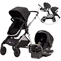 Evenflo Pivot Xpand Modular Travel System with SafeMax infant Car Seat, Stallion, Black