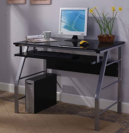 Kingu0027s Brand 2950 Glass And Metal Home Office Computer Workstation Desk/ Table, Silver Finish