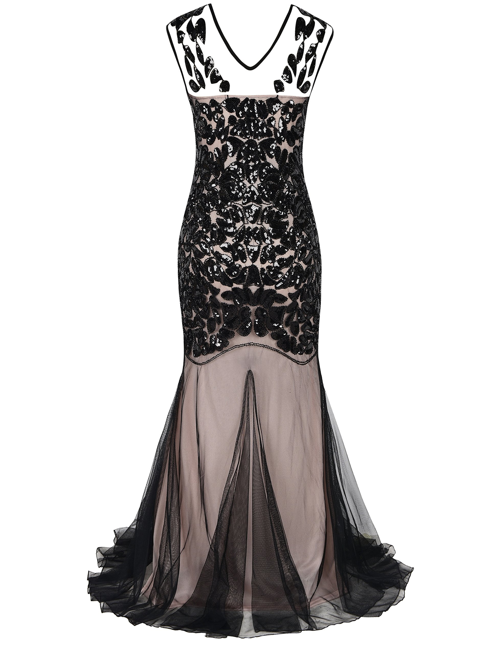 e7dfdbf6d6fa ... Friday/PrettyGuide Women's 1920s Ball Gown Art Deco Flapper Formal  Mermaid Homecoming Dress L Black Beige. ; 