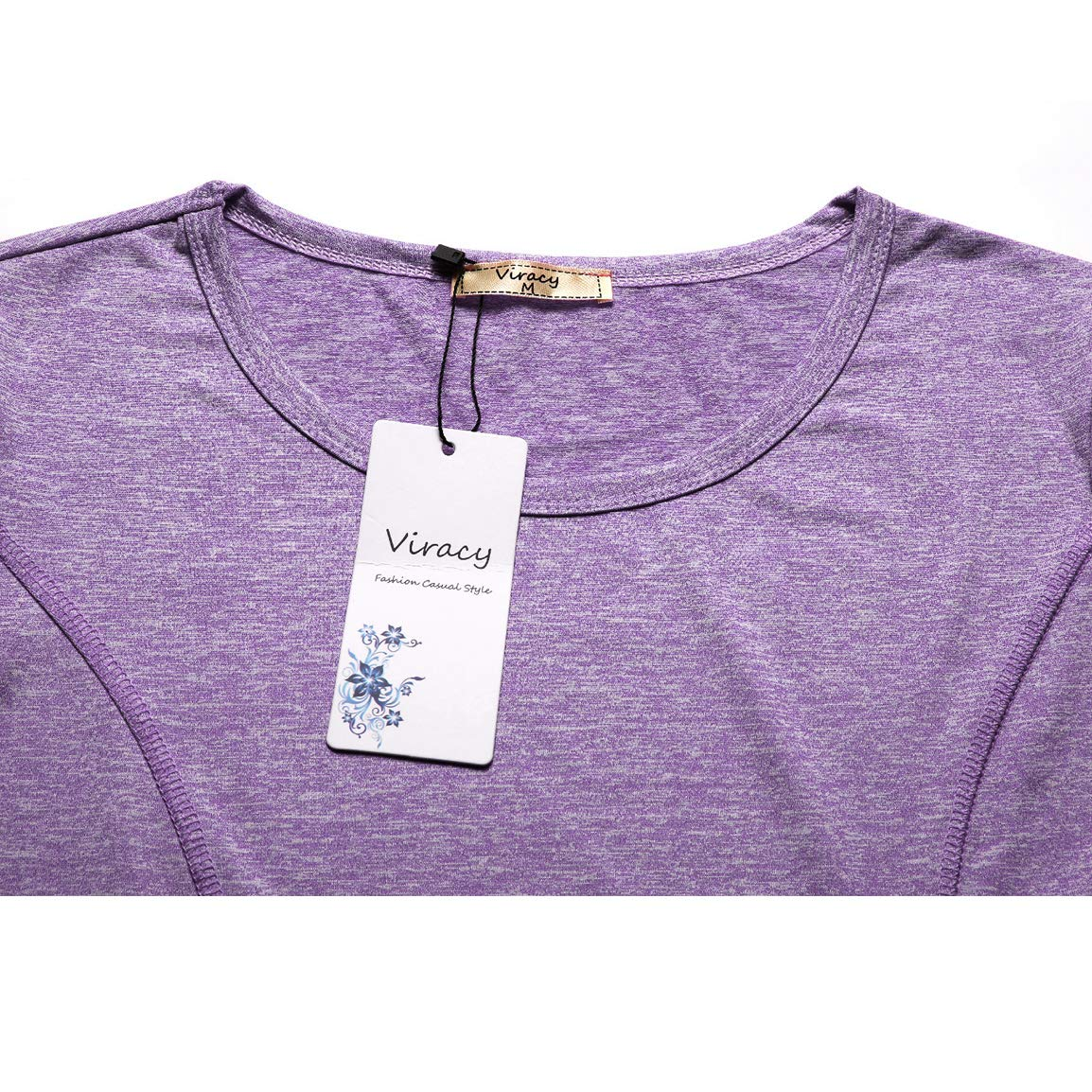 shirt VC006 Viracy Womens Long Sleeve Yoga Tops Exercise Shirts Ladies Long Sleeve Activewear Running Workout Shirt Athleisure Wear for Women Sport Exercise X-Large Purple