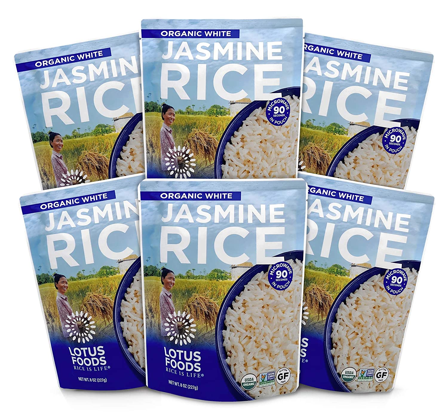 Lotus Foods Organic White Jasmine Heat & Eat Rice Pouch, 8 Ounce , 6Count