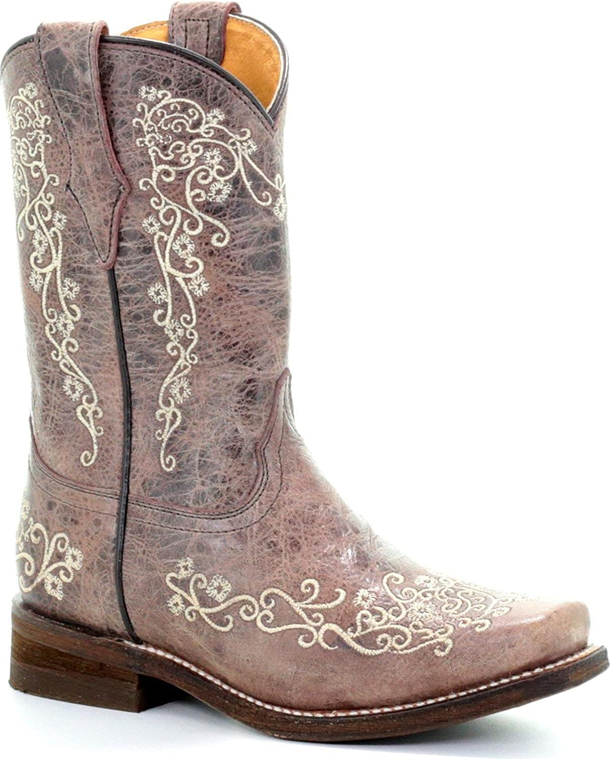 Corral Boys Crater Bone Scroll Embroidery Boot Square Toe Brown 1.5 D