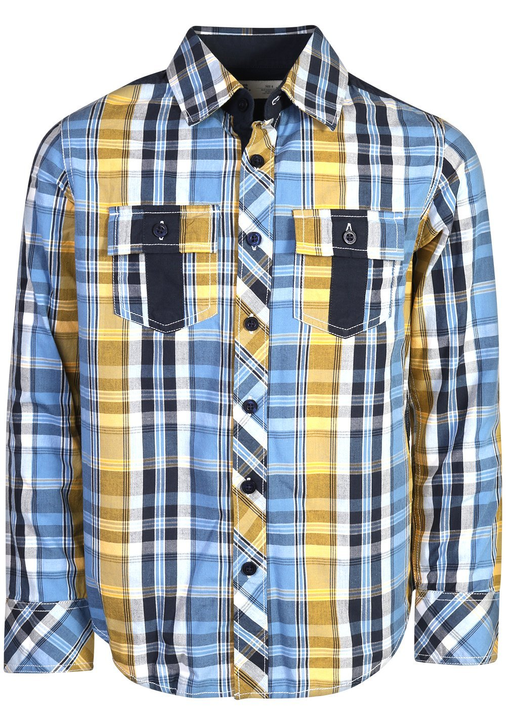 p.s. from aeropostale Boys Long Sleeve Button Down Shirt, Blue Plaid, Size 10