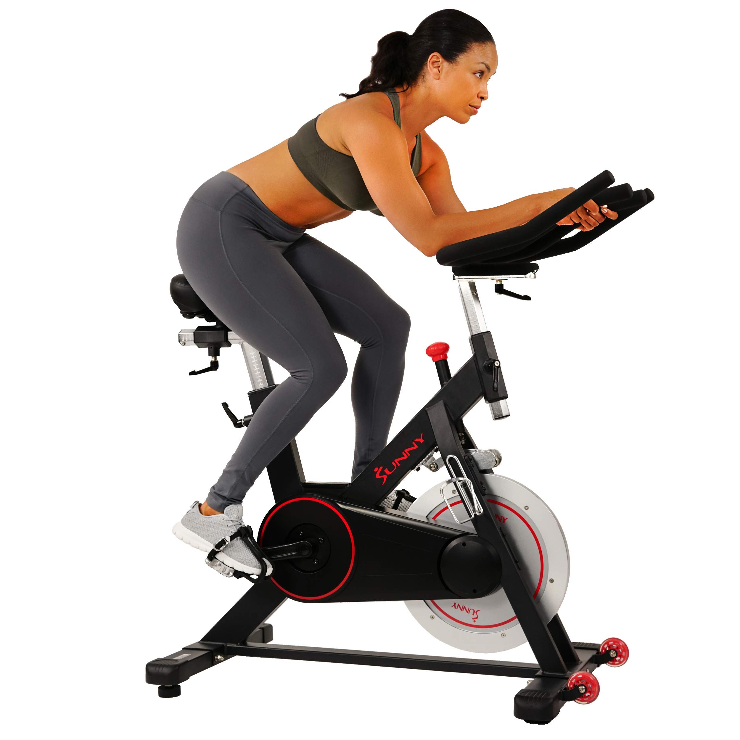 Sunny Health & Fitness Magnetic Belt Drive Indoor Cycling Bike with 44 lb Flywheel and Large Device Holder, Black, Model…