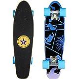 Mini Cruiser Skateboard mit 7 Lagen Ahornholz Deck und 82A PU-Rollen, kann 100kg tragen, geeignet für Kinder, Jugendliche und Erwachsen, ideal für Park und Street
