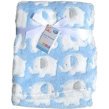 066ef41e8 Super Soft   Fluffy Large Patterned Baby Blanket (Blue Elephants ...