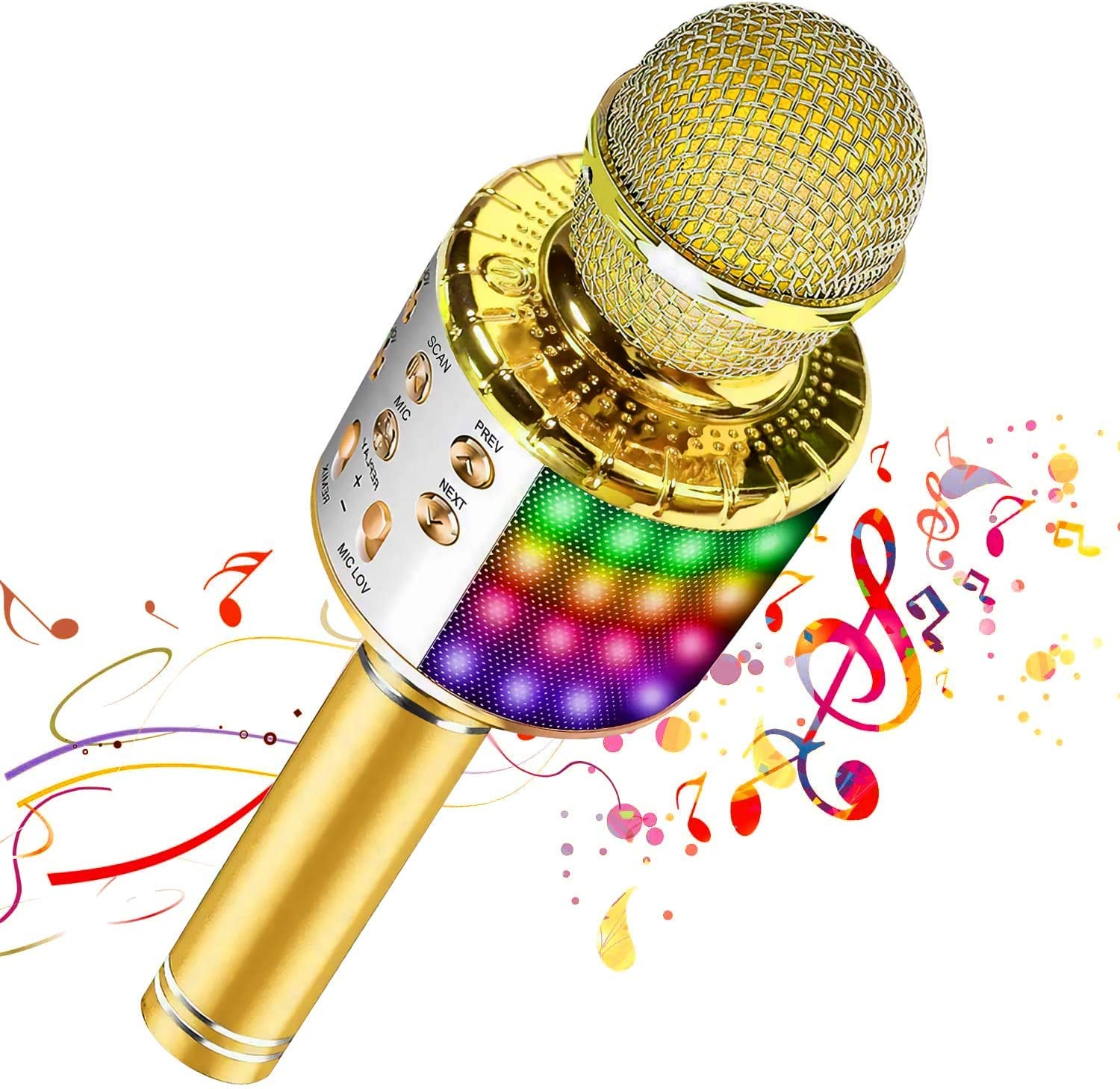 Bluetooth Wireless Karaoke Microphone with Multicolored LED Lights, Portable 4 in 1 Karaoke Machine Microphone for Adult Kids, for Android/iPhone/PC (Gold)
