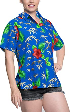 1e81d9da1d3ae LA LEELA Hawaiian Shirt Blouses Button Down Relaxed Fit Women Short ...