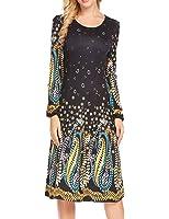Zeagoo Women Scoop Neck Long Sleeve Ethnic Printed A-Line Flare Midi Bohemian Dress