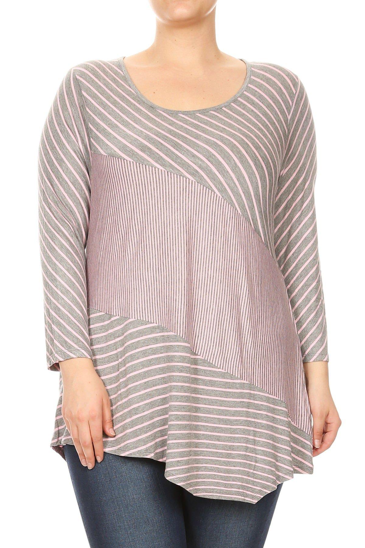 Aki Shop Women Plus Size Striped Style 3/4 Sleeve Keyhole Back Top Tee Blouse Grey Pink 3XL SE16009-4