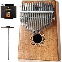 Moozica Mahogany Tone Wood 17 Keys Kalimba Marimba, High Quality Professional Finger Thumb Piano Musical Instrument Gift (K17M)