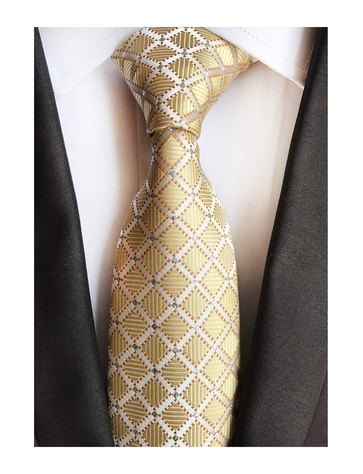 Mens Fashion Style Light Gold Silver Plaid Inspired Necktie Pretty Birthday Gift