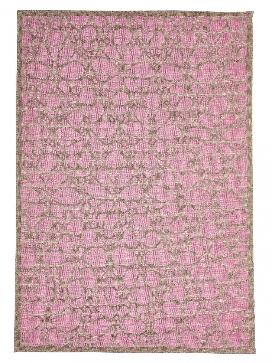 In- und Outdoor-Teppich Balkon   Wohnzimmer Fiore pink-natur 160 x 230 cm