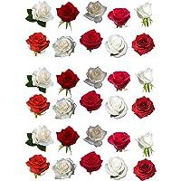 Flores comestibles rojas y blancas para decorar tartas (30 unidades)