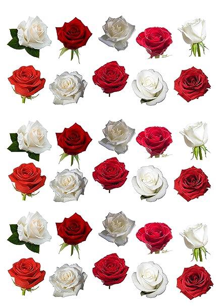 30 Magnifique Mixte Rouge Et Blanc Rose Fleur En Papier Comestible