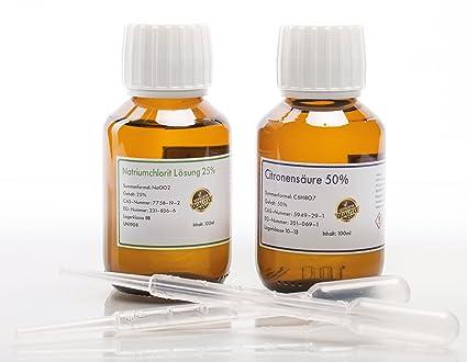 Sodio chlorit 25% + citronen Acid 50% Set 2 x 100ml para Mega de