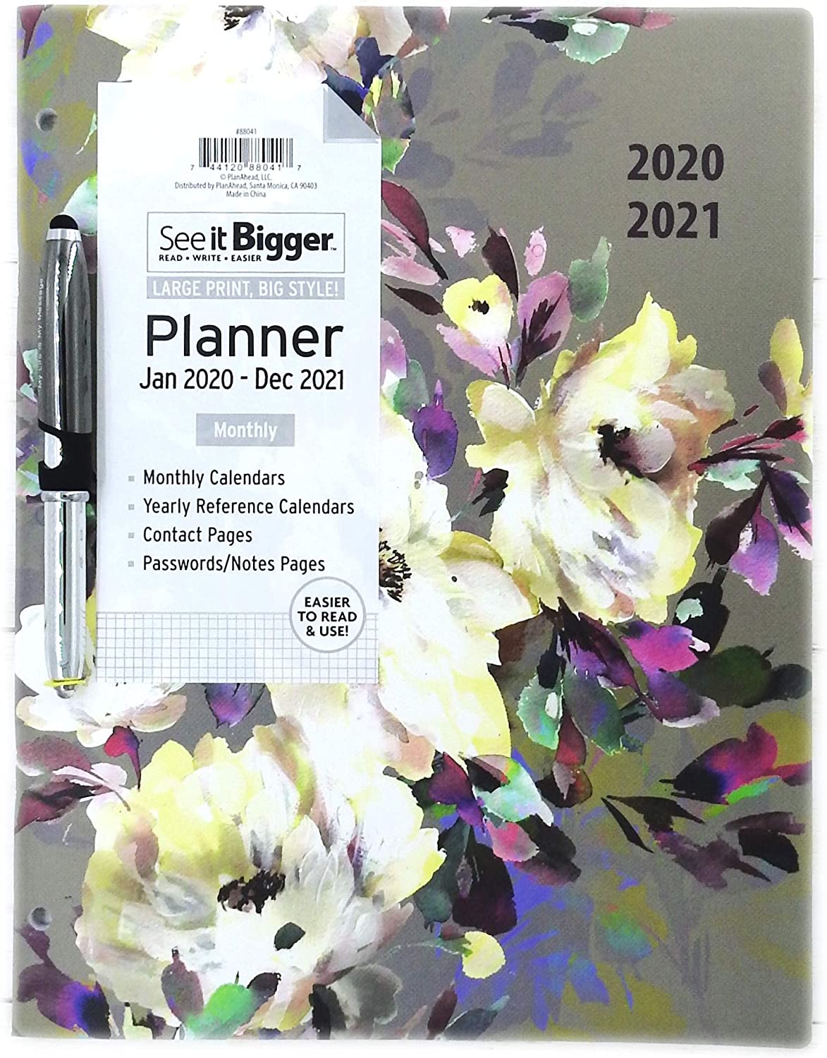 "PlanAhead Home/Office 2-Year Monthly Planner, January 2020 - December 2021, 8.5 x 11 Inches and Ultima Stylus Inspirational Pen ""My Life is My Message"". (Flowers on Grey)"