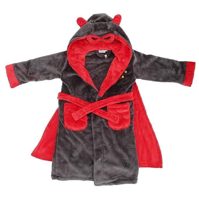 Bata de estar por casa de polar con capucha con antifaz y capa modelo Superhero para