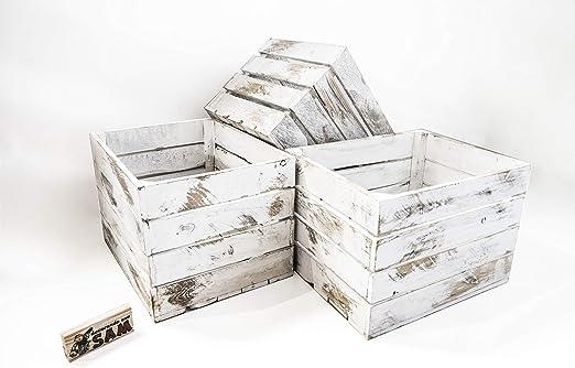 Set 3 Cajas Grandes Blancas Vintage Sam, Decoración, Almacenamiento, Madera, Blanco Vintage, 50x40x30CM. Incluye Imán Personalizable de Regalo: Amazon.es: Hogar