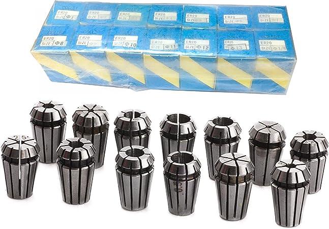 Full Set 14pcs ER20 Spindle Collet For CNC Router Engraving Milling Lathe Tool