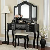 Fineboard CFB-VT04-BK Vanity Beauty Station Makeup Table and Wooden Stool 3 Mirrors and 5 Organization DrawersSet, Black