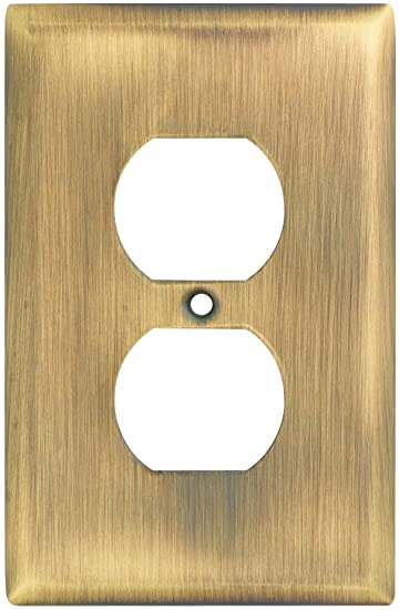 Stanley Home Designs V8002 Single Outlet Wall Plate, Antique Brass Part 75