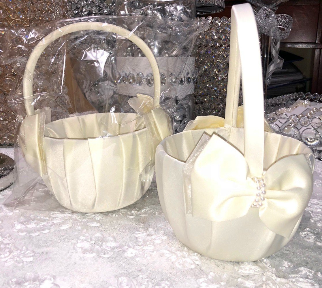FavorOnline Ivory Satin Flower Girl Wedding Basket