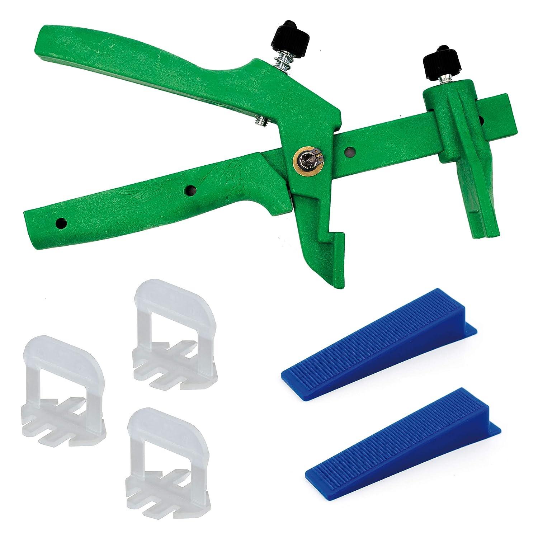 Lantelme Fliesenverlegehilfe Beginner Set 3mm Fuge Zuglaschen, Keile u Zange Schwarz fü r Fliesen 3-15mm Heimwerker und Profi