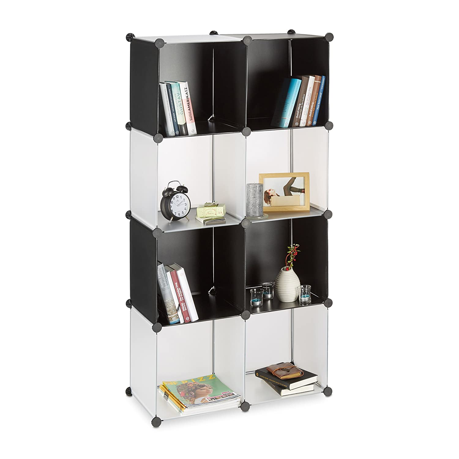 Relaxdays Plastic Shelving System, Open Modular Shelf, Plug-In Room Divider,8 Compartments, Black-Transparent 10021980_408