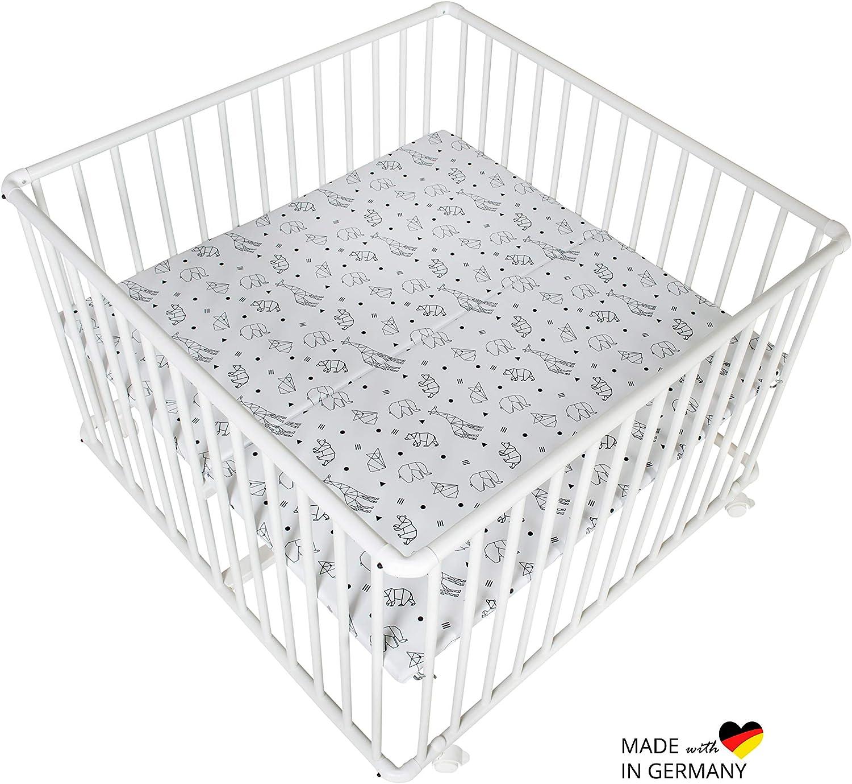 Schardt 02 010B00 02 082 Basic Parc en bois de h/être massif avec film Origami Noir Blanc 100 x 100 cm