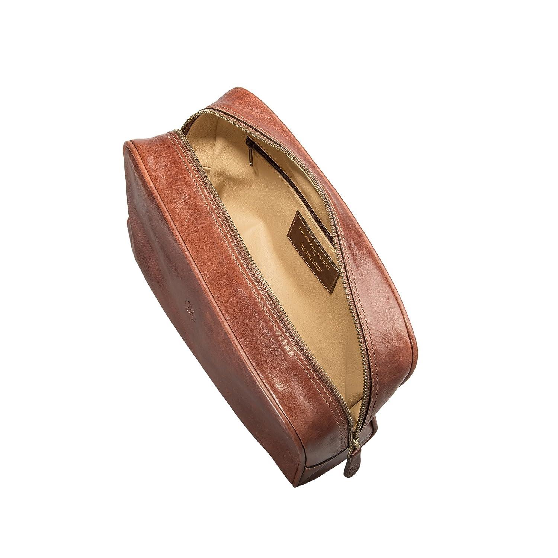 Maxwell Scott Womens Italian Leather Dopp Kit Raffaelle Tan