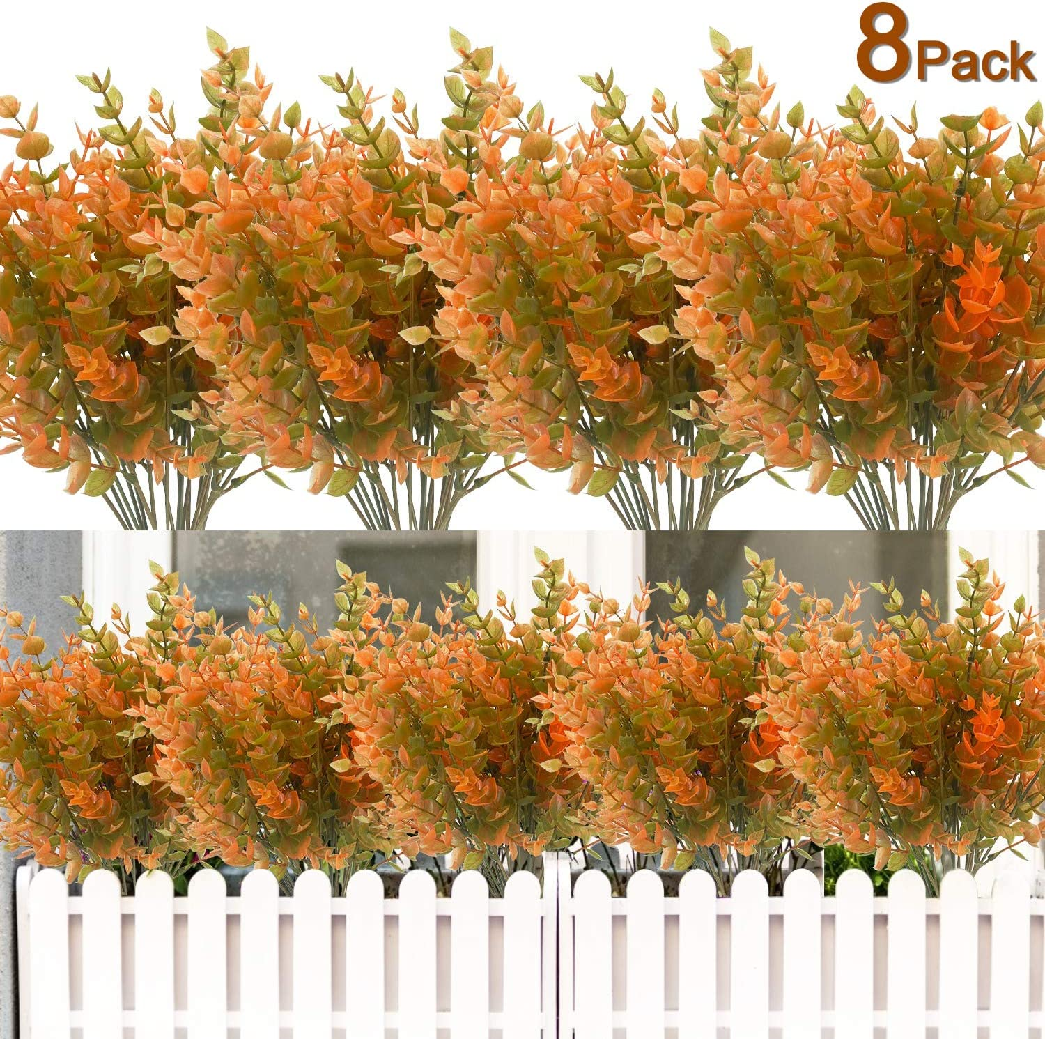 8PCS Artificial Flowers Outdoor UV Resistant Plants, 8 Branches Faux Plastic Corn-flower Greenery Shrubs Plants Indoor Outside Hanging Planter Kitchen Home Wedding Office Garden Decor (Green Brown)