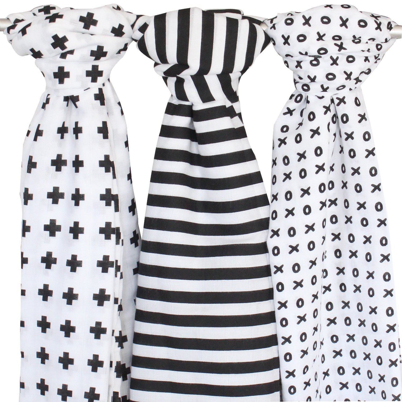 Muslin Swaddle Blanket - 3 Pack, Black + White - Ziggy Baby 48 x 48