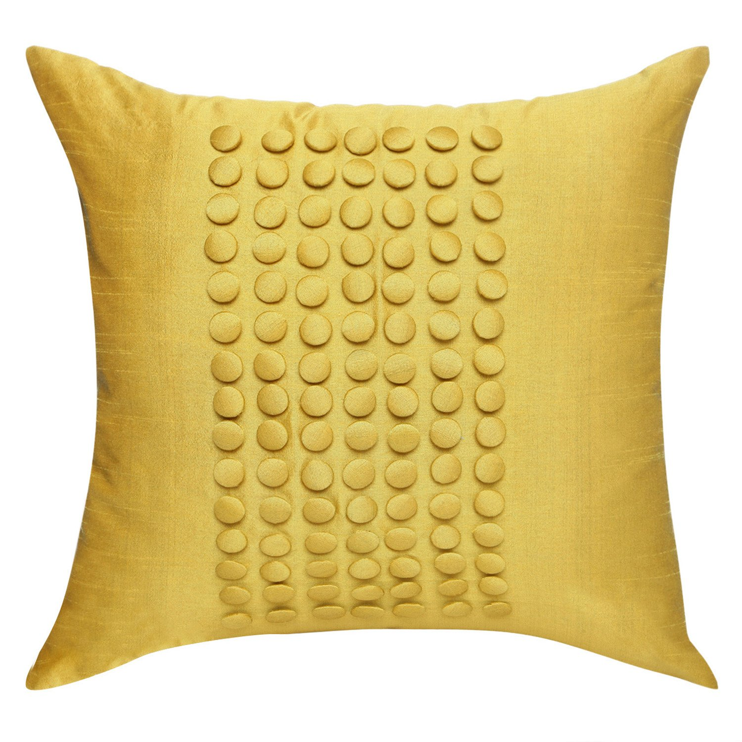Decorative Pillows Yellow Textured Throw Pillow Cover Mustard Yellow, Button Panel