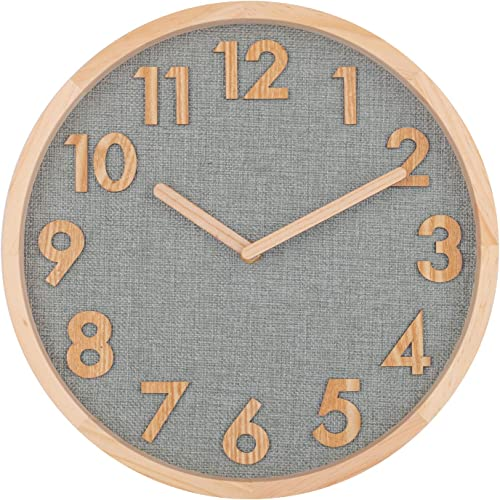 12 Inch Wall Clock, Stereo 3D Numerals Burlap Analog Clock with Pine Wooden Frame, Silent Non-Ticking Decorative Round Hanging Clock for Bedroom, Living Room, Apartment Kitchen, Cafe, Office
