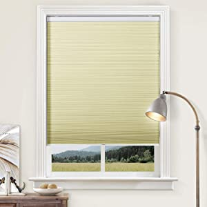 cololeaf Cordless Cellular Shades Blackout Window Blind, Customized Honeycomb Shades for Windows Thermal Insulated Aluminum Film Cellular Shade for Home and Office, Beige