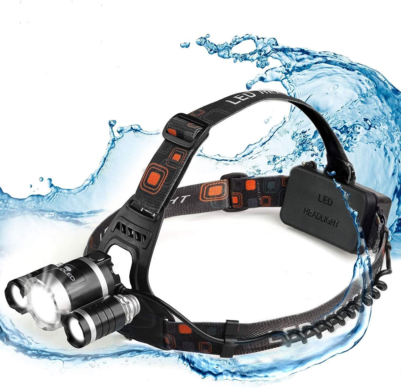 Vividled 6000 Cree linterna frontal LED recargable, impermeable, extraordinaria para caminar, correr, acampar y deportes al aire libre