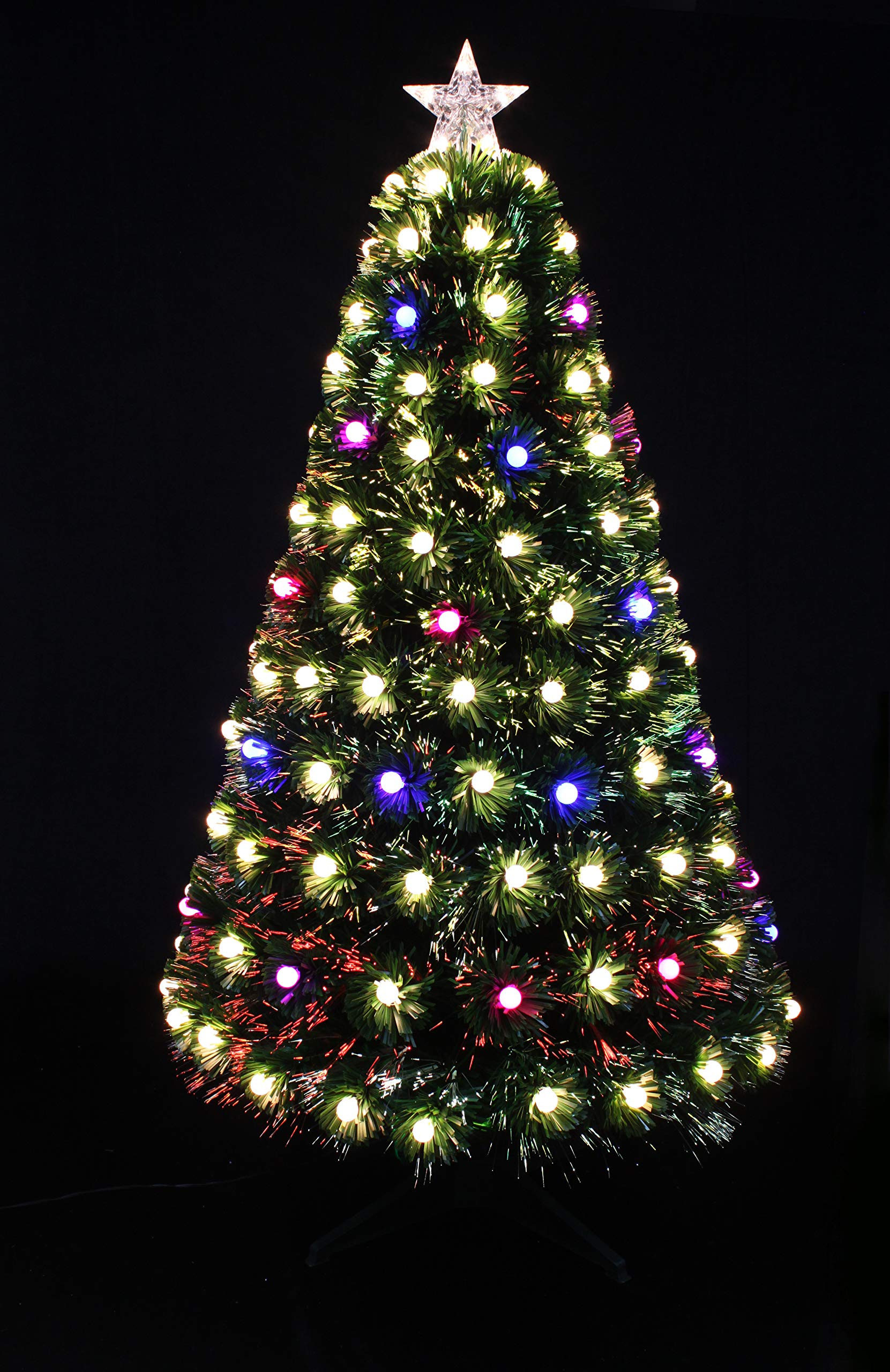 HOLIDAY STUFF Pre-Lit Multi-Color Globe LED Decorated Fiber Optic Artificial Christmas Tree (4ft)