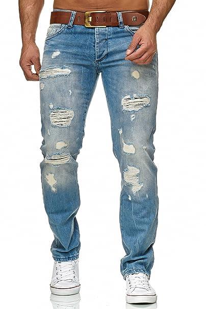 583142ff5a Redbridge Hombres Denim Jeans Ajustados Vaqueros Casuales Destruido Efectos  Moda Pantalón  Amazon.es  Ropa y accesorios