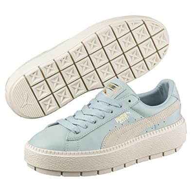 42a4a395ee18 Puma Basket Platform Trace Blocks Damen Sneaker Ster Blue-Vani Ice-Vani Ice  3.5