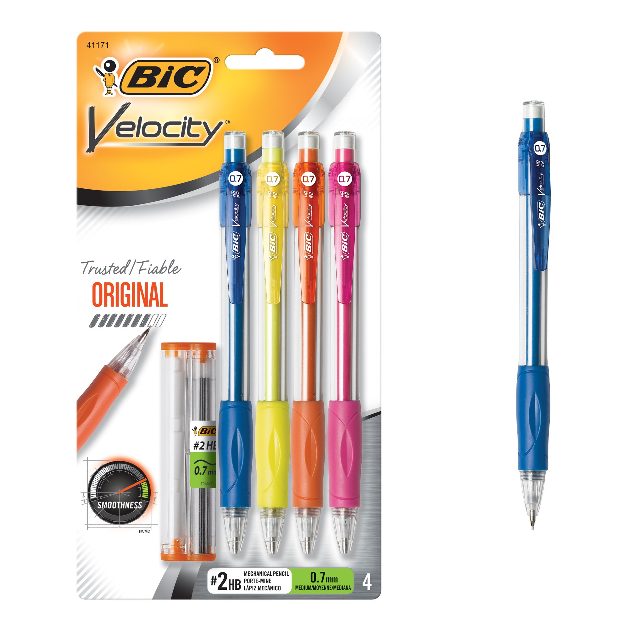 BIC Velocity portaminas 0,7 mm 4ct, negro (mv7p41-blk)