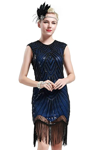 Babeyond Vestito Gatsby Donne 1920s Vestito Abito Anni 20 Donna Flapper  Dress 1920s Vestito da Sera Paillette Impreziosito Frange Gatsby Dress  Senza ... 96618711993