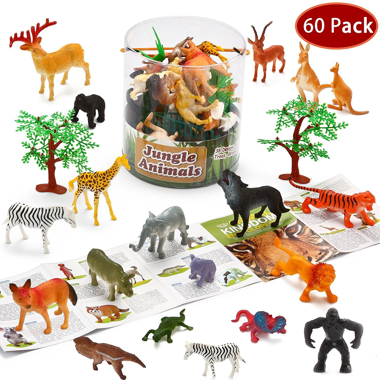 Amazon Com Joyin Toy 60 Pieces Safari Jungle Animal Figures Toddler