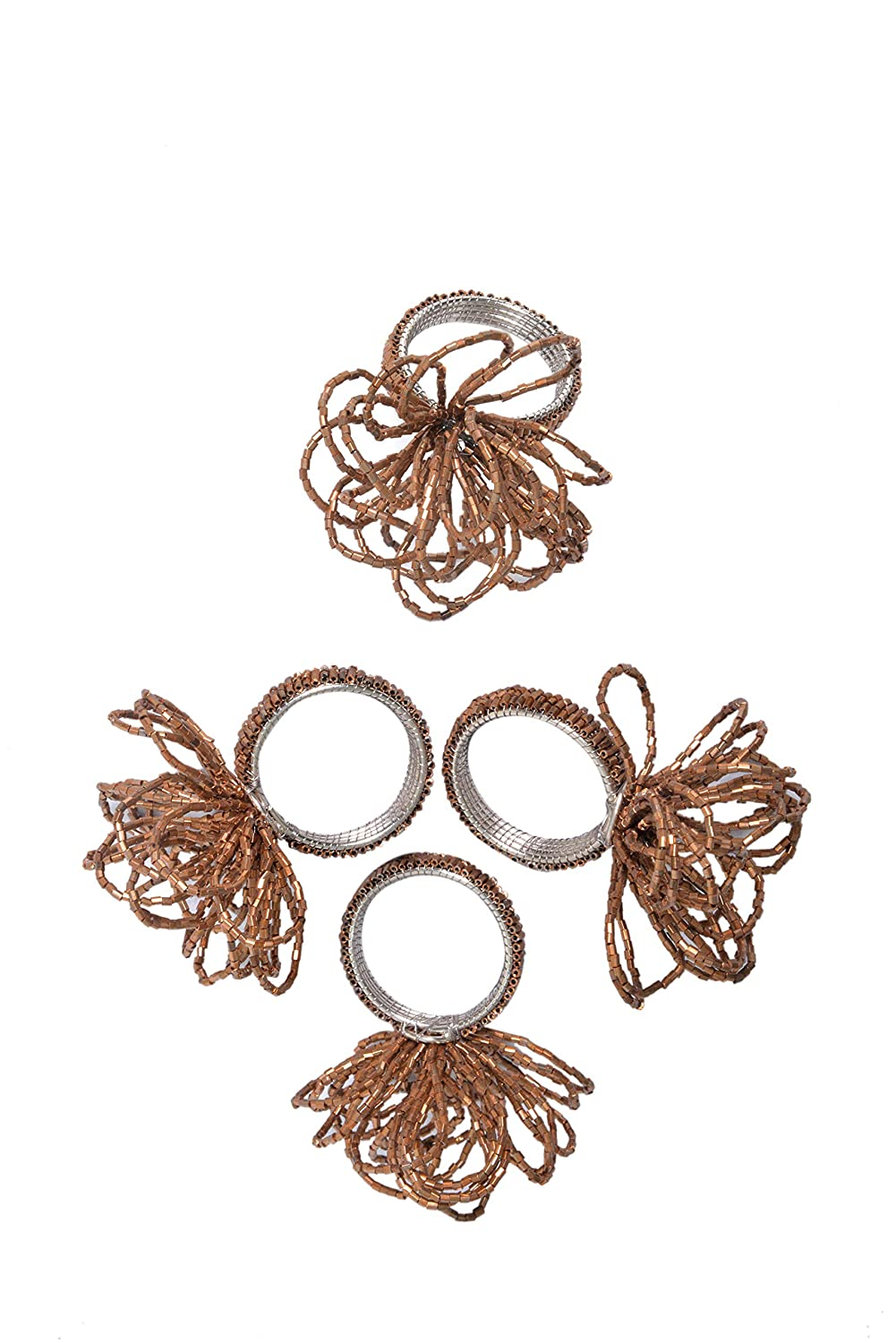 Hand Made by Skilled artisans Alpha Living Home Handicraft Floral Beaded Napkin Rings Set of 4 Brown Beaded Napkin Holders 2 Inch A Joyful complement to Your Dinner Table and Their Accessories