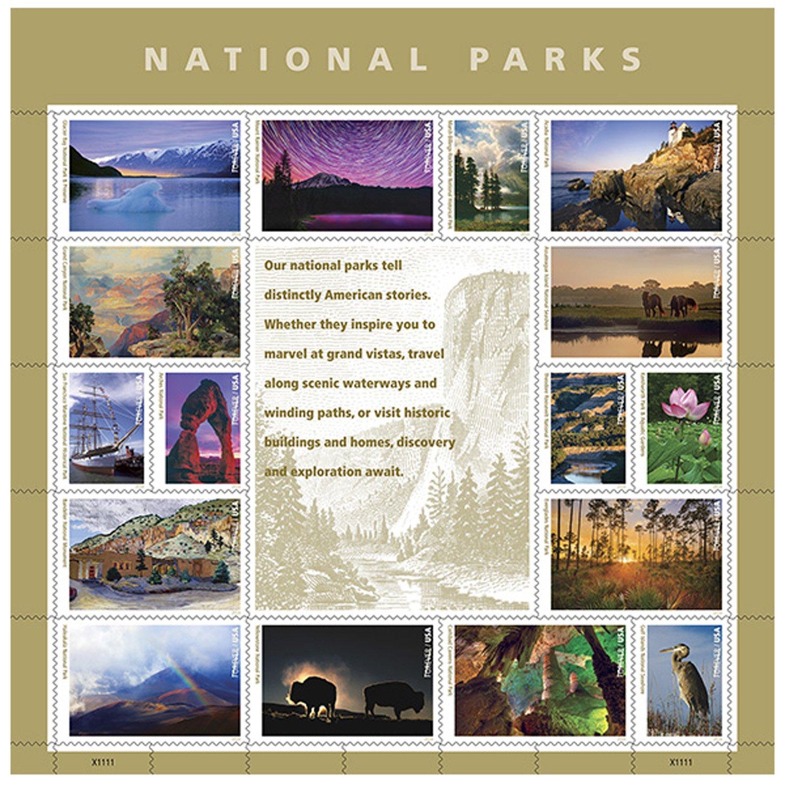 National Parks USPS Forever Stamps Sheet of 16 Postage Stamps 2016 by United States Postal Service Stamps (Image #1)